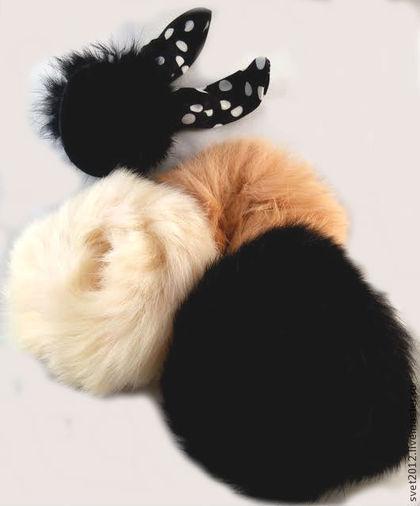 Заколки ручной работы. Ярмарка Мастеров - ручная работа Комплект из 4 резинок для волос из натурального меха кролика.. Handmade.