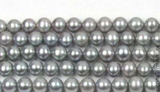 Для украшений ручной работы. Ярмарка Мастеров - ручная работа. Купить Жемчуг серый 6-7 мм нить. Handmade.