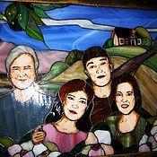 """Картины и панно ручной работы. Ярмарка Мастеров - ручная работа Витраж """"Семейное фото"""". Handmade."""