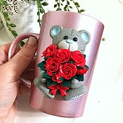 Посуда handmade. Livemaster - original item Teddy bear mug with a bouquet of roses made of polymer clay. Handmade.