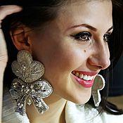 Свадебный салон handmade. Livemaster - original item Wedding earrings. Embroidered earrings. bead earrings. Handmade.