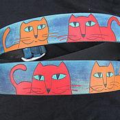 """Ремни ручной работы. Ярмарка Мастеров - ручная работа ремень кожаный """"Коты"""", крупные. Handmade."""