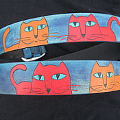 Аксессуары handmade. Livemaster - original item leather strap Cats, large. Handmade.