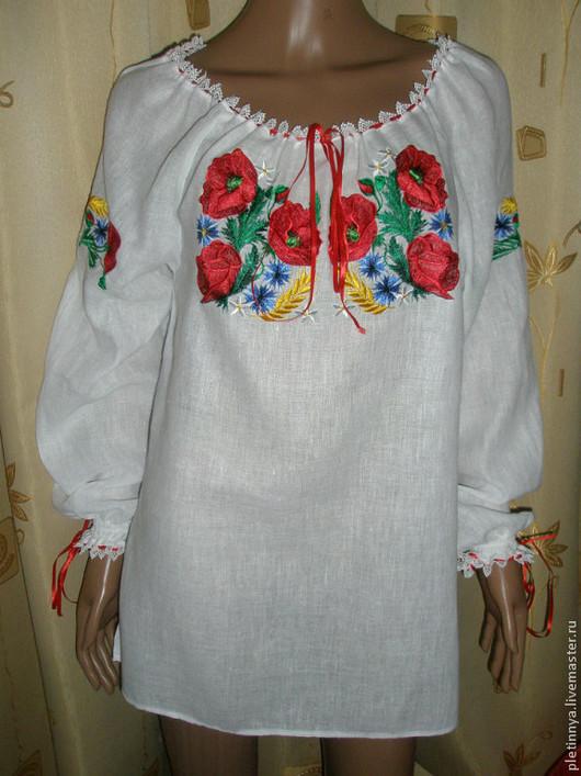 """Блузки ручной работы. Ярмарка Мастеров - ручная работа. Купить блузка """"маки"""" 2. Handmade. Белый, домотканое полотно"""