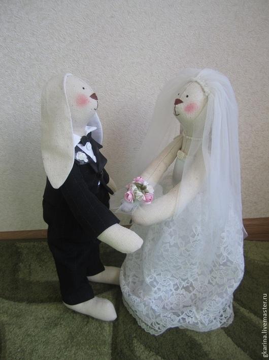 Куклы Тильды ручной работы. Ярмарка Мастеров - ручная работа. Купить Свадебные Зайцы (большие). Handmade. Свадебный подарок