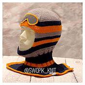 Работы для детей, handmade. Livemaster - original item Hat helmet striped skier