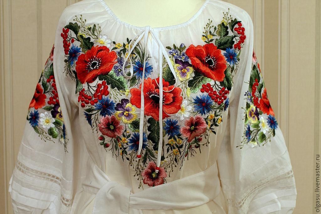Вышивка шелком на платье