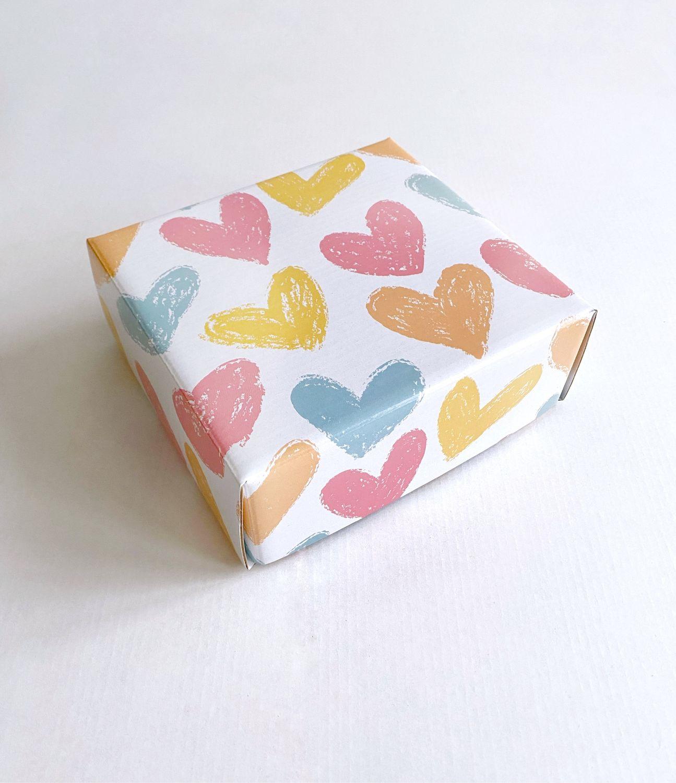 Коробка крышка-дно, 14,5х14,5х6 см, сердечки, Коробки, Москва,  Фото №1