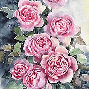 Картина акварелью с розами - Букет из семи роз