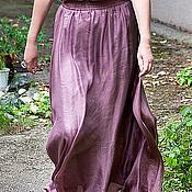 Одежда ручной работы. Ярмарка Мастеров - ручная работа Шелковая юбка в пол, натуральный шелк Черничная шарлотка. Handmade.