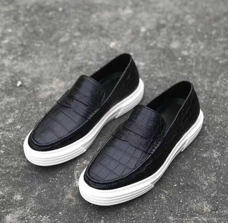 Crocodile leather slip-ons, in black, unisex model!, Slip-ons, Tosno,  Фото №1