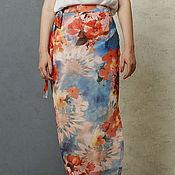 Одежда handmade. Livemaster - original item The floor-length skirt chiffon with wrap with floral print. Handmade.