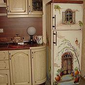 Дизайн и реклама ручной работы. Ярмарка Мастеров - ручная работа роспись холодильника Итальянский домик:). Handmade.