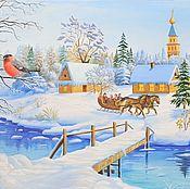 Картина маслом на холсте - Зимняя Сказка