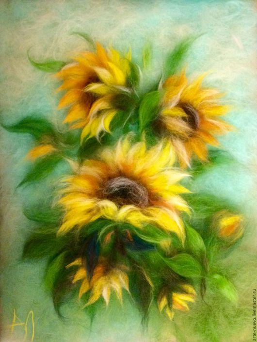 """Картины цветов ручной работы. Ярмарка Мастеров - ручная работа. Купить Картина из шерсти """"Подсолнухи"""". Handmade. Комбинированный, картина, подарок"""