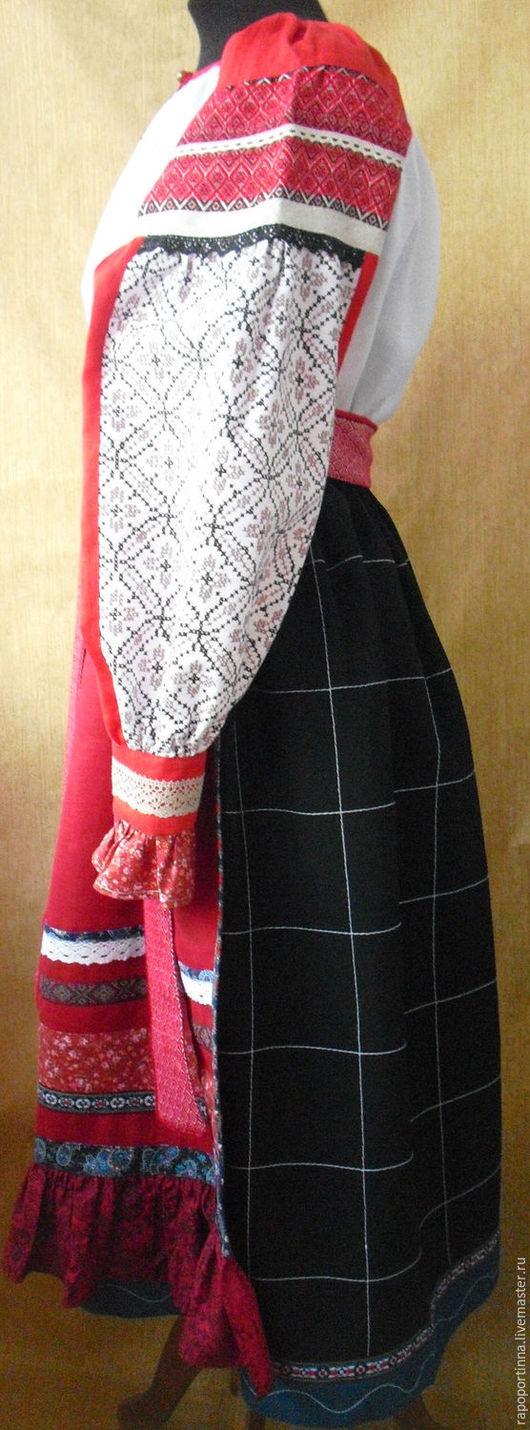 Одежда ручной работы. Ярмарка Мастеров - ручная работа. Купить Понева и передник. Handmade. Чёрно-белый, русская народная юбка