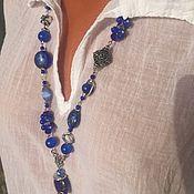 Украшения handmade. Livemaster - original item Stylish decoration on the neck, blue long boho beads. Handmade.