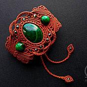 Браслет плетеный ручной работы. Ярмарка Мастеров - ручная работа Браслет с малахитом широкий крупный зеленый коричневый рыжий. Handmade.