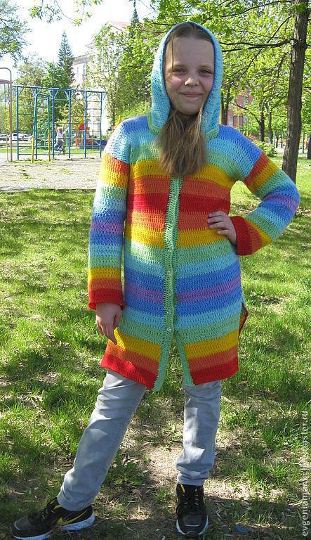Верхняя одежда ручной работы. Ярмарка Мастеров - ручная работа. Купить пальто Радуга летнее вязаное авторское. Handmade. Пальто