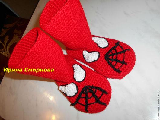 """Обувь ручной работы. Ярмарка Мастеров - ручная работа. Купить Детские носочки """"Человек-паук"""". Handmade. Ярко-красный, войлок"""