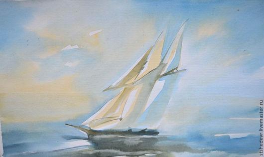 """Фантазийные сюжеты ручной работы. Ярмарка Мастеров - ручная работа. Купить Акварельная картина """"Ветер в парусах"""". Handmade. Голубой, подарок"""