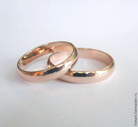 Свадебные украшения ручной работы. Ярмарка Мастеров - ручная работа. Купить Классические обручальные кольца из красного золота. Handmade. Золотой