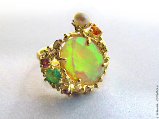 Кольца ручной работы. Ярмарка Мастеров - ручная работа. Купить Золотое кольцо с опалом. Handmade. Кольцо из золота, кольцо с опалом