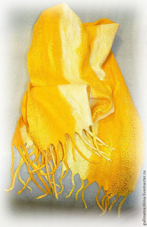 """Шарфы и шарфики ручной работы. Ярмарка Мастеров - ручная работа. Купить Коллекция """"Шарфики - антидеприсанты"""", желтый, солнечный, лесной, бирюз. Handmade."""