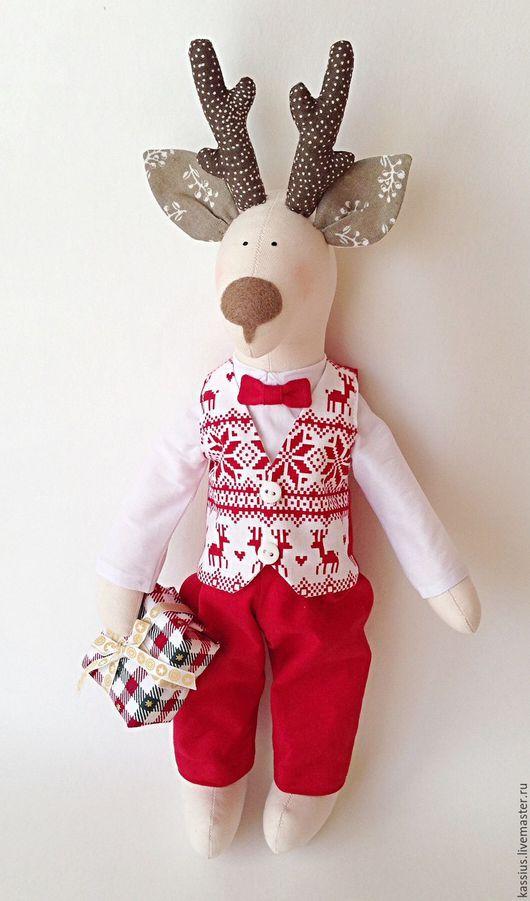 Куклы Тильды ручной работы. Ярмарка Мастеров - ручная работа. Купить Новогодний олень тильда (Интерьерная игрушка). Handmade. Комбинированный