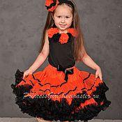 Работы для детей, ручной работы. Ярмарка Мастеров - ручная работа Пышная юбка   (оранжево-черная). Handmade.