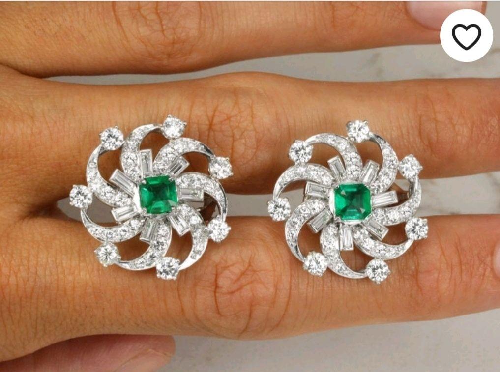 Дорогие серьги бриллиантовые с изумрудами от JR Jewels, Серьги классические, Вест-Палм-Бич,  Фото №1