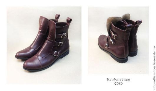 Обувь ручной работы. Ярмарка Мастеров - ручная работа. Купить Ботинки на ремешках. Handmade. Бордовый, мужские ботинки, демисезонная обувь