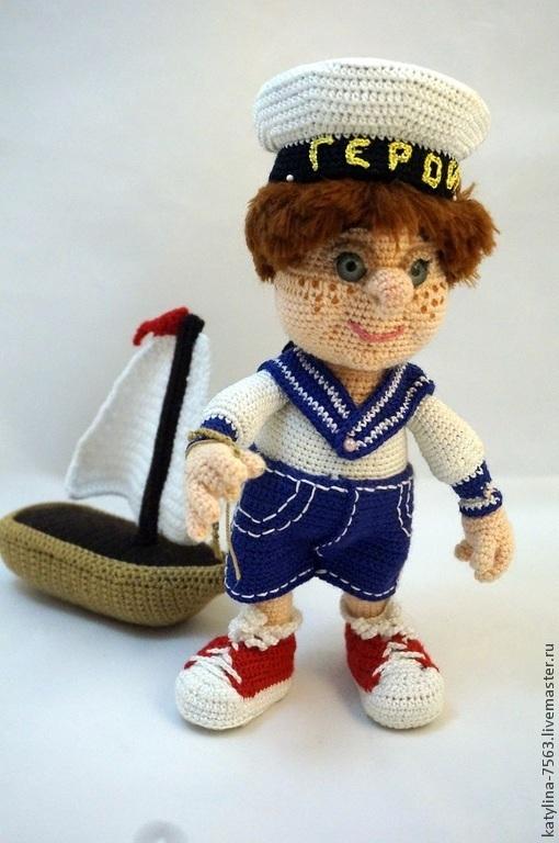 Человечки ручной работы. Ярмарка Мастеров - ручная работа. Купить Юный морячок. Handmade. Синий, игрушка, Вязание крючком
