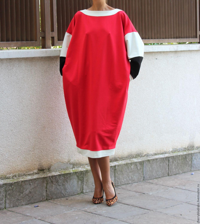 Красное макси миди платье, кафтан с длинным рукавом из хлопка, Платья, София, Фото №1