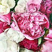 Картины и панно handmade. Livemaster - original item Oil painting with peonies