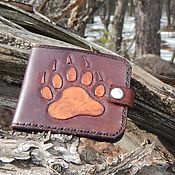Сумки и аксессуары handmade. Livemaster - original item Leather purse embossed Bear claw. Handmade.