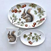 Посуда handmade. Livemaster - original item Porcelain painting Baby kit Squirrel. Handmade.