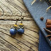 """Украшения ручной работы. Ярмарка Мастеров - ручная работа """"Jeans. Минимализм"""" серьги-гвоздики (содалит, нефрит). Handmade."""
