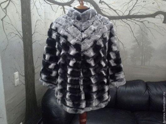 Верхняя одежда ручной работы. Ярмарка Мастеров - ручная работа. Купить Кейп из меха кролика расшитый замшей. Handmade. мех