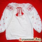 Русский стиль handmade. Livemaster - original item Embroidered shirt for girl long sleeve.. Handmade.