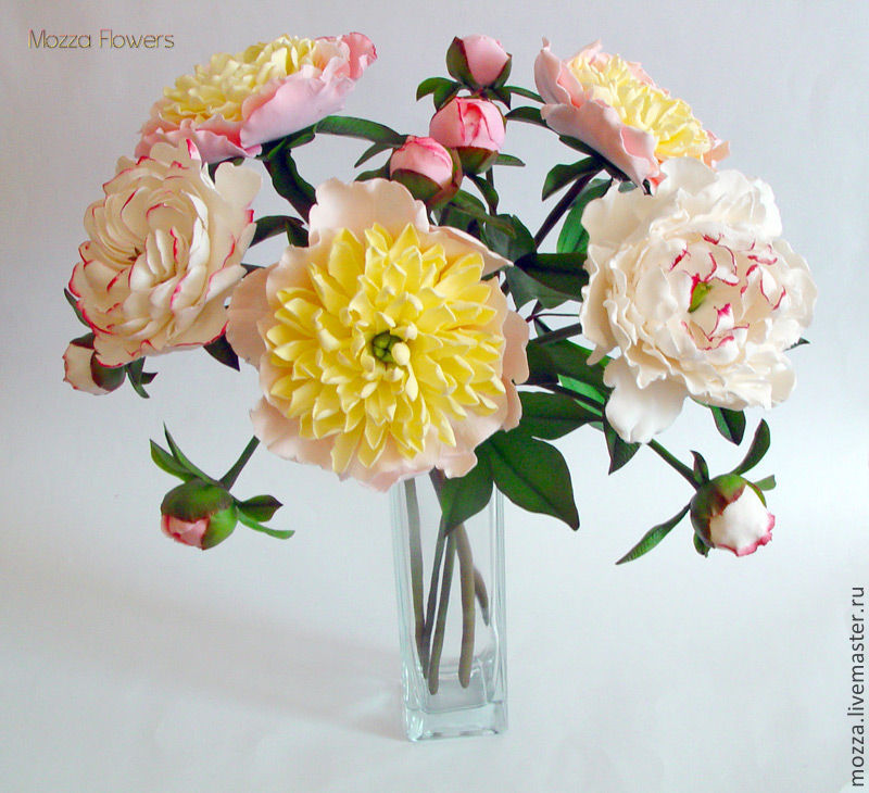 Peony bouquet from polymer clay 'Radiant', Bouquets, Zarechny,  Фото №1