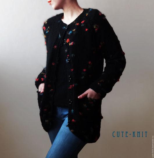 Чтобы лучше рассмотреть модель, нажмите на фото CUTE-KNIT Ната Онипченко Ярмарка мастеров  Купить женский кардиган вязаный цвет черный