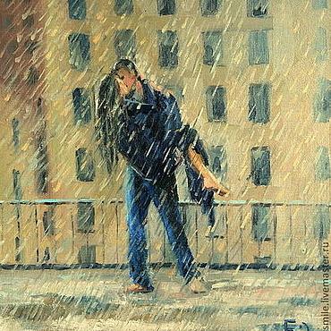 Картины и панно ручной работы. Ярмарка Мастеров - ручная работа Картина маслом на холсте. Поцелуй под дождем.. Handmade.