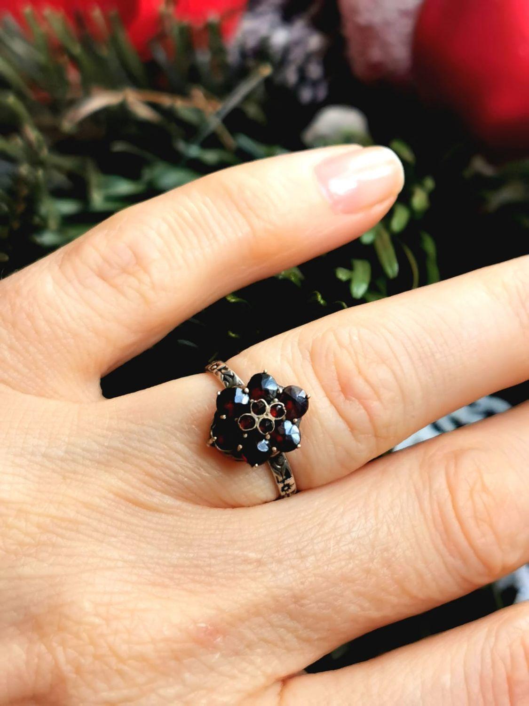 Винтаж: Размер 15.8 Дивное серебряное кольцо ручной работы с пиропами 1900х, Кольца винтажные, Геттинген,  Фото №1