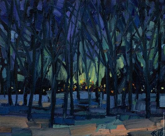 Картина импрессионизм Анна Крюкова (impression-живопись) Купить картину пейзаж маслом Картина маслом зима Ночной пейзаж масло