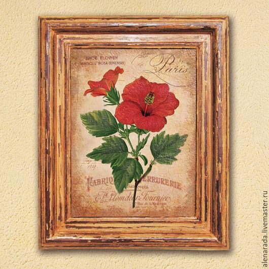 Картины цветов ручной работы. Ярмарка Мастеров - ручная работа. Купить Картина Гибискус в коричневой состаренной раме. Handmade.