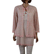 Одежда handmade. Livemaster - original item Costumes: Summer tunic made of cotton and lace with Cape. Handmade.