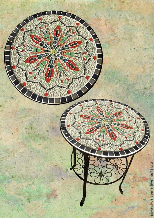 """Мебель ручной работы. Ярмарка Мастеров - ручная работа. Купить Столик журнальный """"Цветочная мандала"""". Handmade. Мозаика, журнальный столик"""