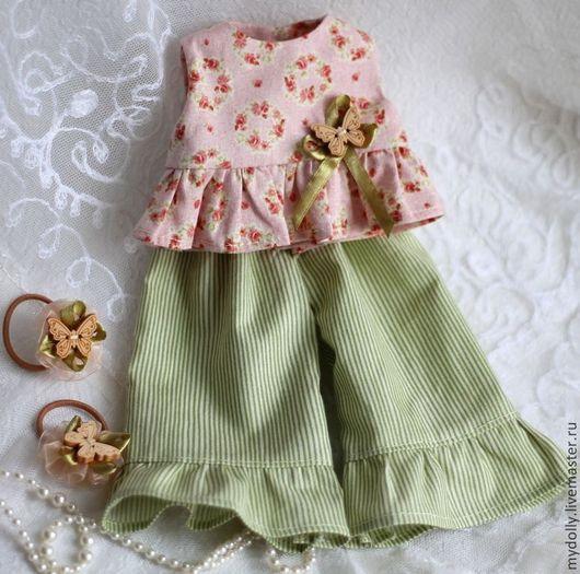 """Одежда для кукол ручной работы. Ярмарка Мастеров - ручная работа. Купить Комплект одежды для куклы 32- 34 см """"Весенняя лужайка"""". Handmade."""