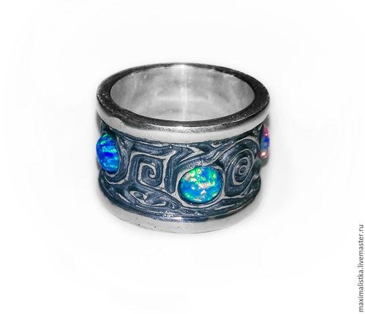 """Кольца ручной работы. Ярмарка Мастеров - ручная работа. Купить Кольцо """"Радужные опалы"""" серебро 925, опалы. Handmade. Разноцветный"""